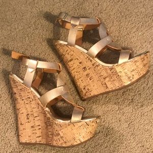 Just Fab gold wedges